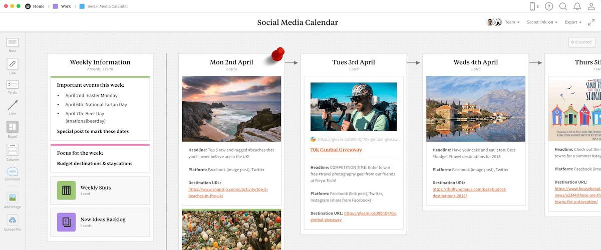milanote social media planner template