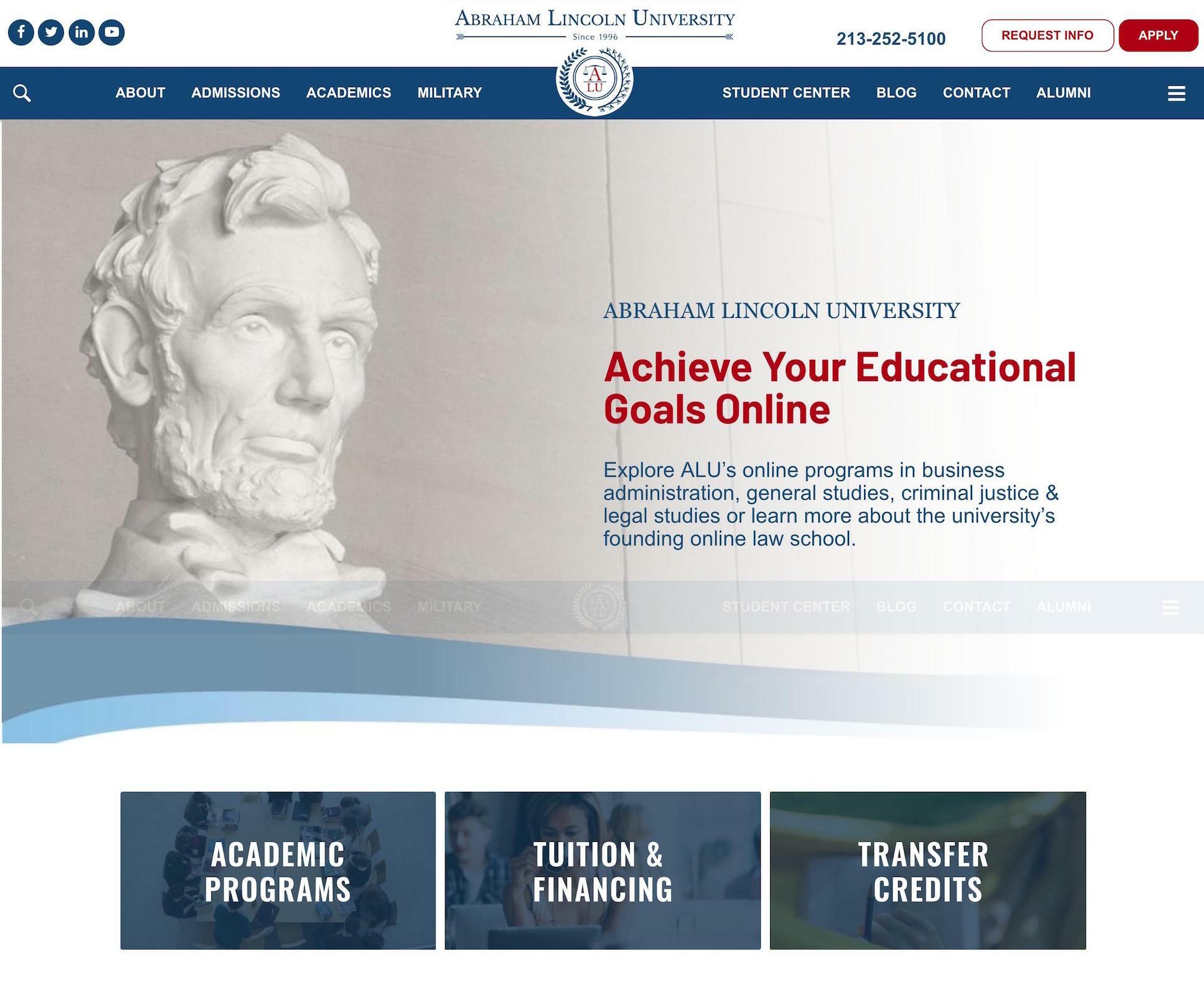 ALU Law School Custom Website design screen capture