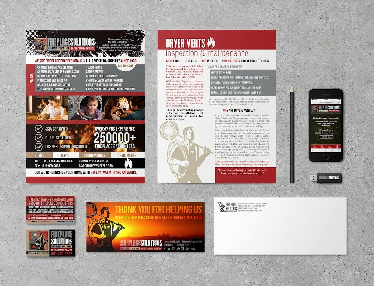 Marketing collateral design by Visualab for Fireplace Solutions Los Angeles